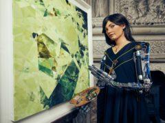 Ai-Da, an AI humanoid robot, opens an art exhibition (Nicky Johnston/PA)