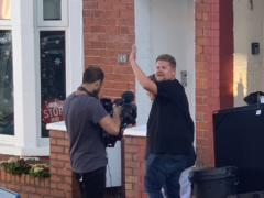James Corden on on-set in Barry (Carys Brown)