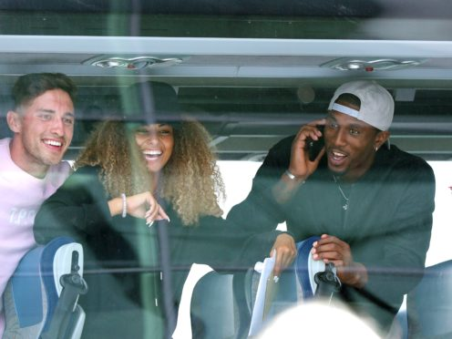 Love Island winners (left to right) Greg O'Shea and Amber Gill along with contestants Ovie Soko and India Reynolds arrive at Stansted Airport in Essex following the final of the reality TV show.