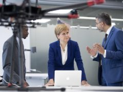 First Minister of Scotland Nicola Sturgeon meets with Dr Yusuf Sambo (left) and Prof Muhammad Imran (Jane Barlow/PA)