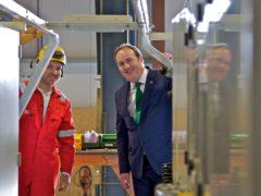 Energy minister Paul Wheelhouse (r) announced £3.4 million funding for Orbital (Colin Keldie/Orbital Marine/PA)