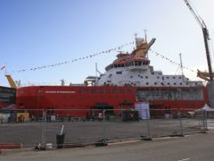 Preparations take place ahead of the naming ceremony at the Cammell Laird shipyard in Birkenhead (Peter Byrne/PA)