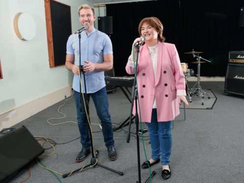 Susan Boyle and Jai McDowall in rehearsals for her Ten tour (Steve Walsh/PA)