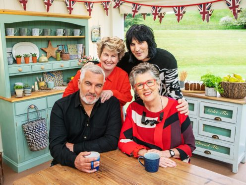 Presenters Sandi Toksvig and Noel Fielding with Paul Hollywood and Prue Leith (C4/Love Productions/Mark Bourdillon/PA)