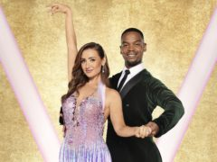 Catherine Tyldesley with her dance partner Johannes Radebe (Ray Burmiston/BBC)