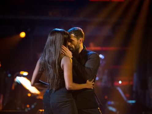 Oti Mabuse and Kelvin Fletcher during their rumba. (Guy Levy/BBC)