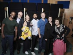 Adrian Lester, Jim Broadbent, Suranne Jones, Himesh Patel, Shaun Dooley, Olivia Colman and Helena Bonham Carter, who are all singing on an album of covers in aid of BBC Children In Need (BBC/Ray Burmiston)