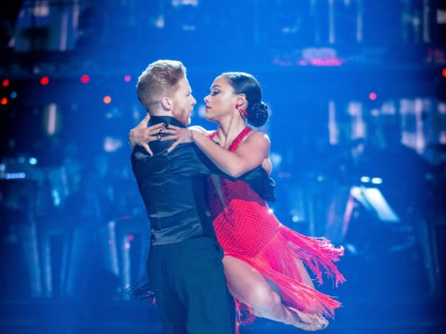 Alex Scott and Neil Jones stuck together after Strictly wardrobe malfunction (Guy Levy/BBC)