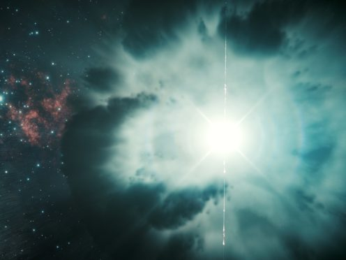 An artist's impression of a gamma ray explosion (Science Communication Lab/Desy)