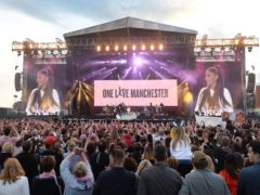 Ariana Grande performing during the One Love Manchester benefit concert for the victims of the Manchester Arena terror attack (Dave Hogan for One Love Manchest/PA)