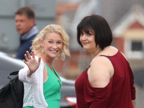 Ruth Jones with Joanna Page on the set of the Gavin and Stacey Christmas special (Andrew Matthews/PA)