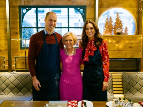 The Duke and Duchess of Cambridge with Mary Berry (BBC/Shine TV/Kensington Palace/PA)