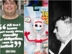 A quote from existentialist Albert Camus. a Forky toy and Jean-Paul Sartre (Rui Vieira/ Aaron Chown/PA)