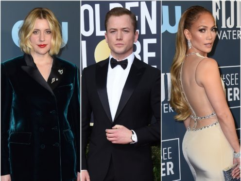Greta Gerwig, Taron Egerton and Jennifer Lopez (AP)