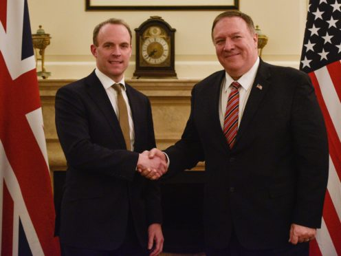 Foreign Secretary Dominic Raab welcomes US secretary of state Mike Pompeo (Peter Summers/PA)