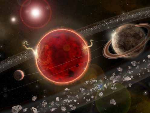 An artist's rendering of Proxima Centauri planetary system, with Proxima c on the right (Lorenzo Santinelli/Science Advances)