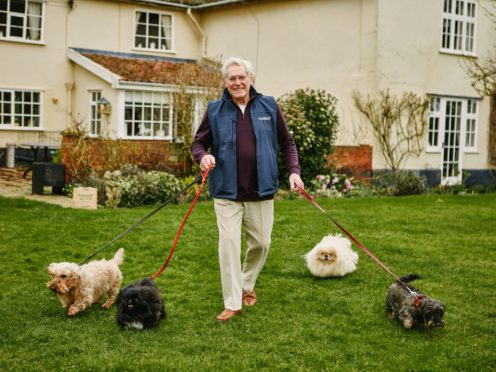 Veteran television presenter Peter Purves with his four Pekingese dogs (Jack Margerison for YuMOVE/PA)
