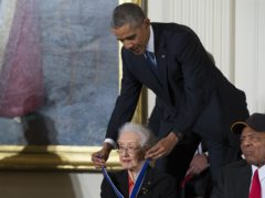 Barack Obama presents the Presidential Medal of Freedom to Nasa mathematician Katherine Johnson (Evan Vucci/AP)