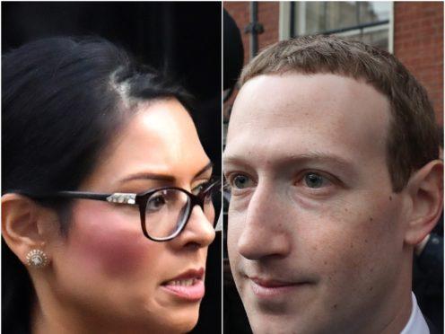 Priti Patel and Mark Zuckerberg (Dominic Lipinski/Niall Carson/PA)