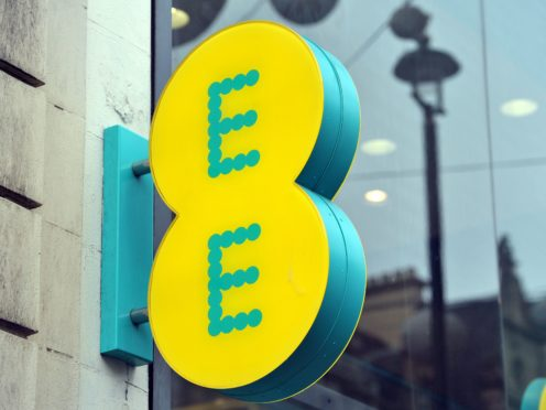 A shop sign for EE mobile in central London.