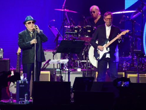 Van Morrison and Eric Clapton on stage during the Music For The Marsden concert (Ian West/PA)