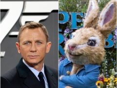 Daniel Craig as James Bond and Peter Rabbit (Michael Sohn/Rick Findler/PA)