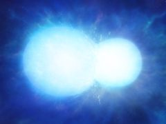An artist's impression of two white dwarfs in the process of merging (Mark Garlick/University of Warwick/PA)