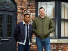 Rugby star Keegan Hirst meets Coronation Street actor Nathan Graham amid football homophobia storyline (Danielle Baguley/ITV/PA)