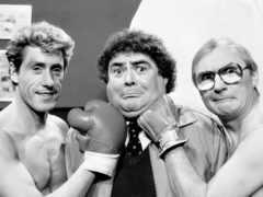 Eddie Large (centre) with Roger Daltrey (left) and comedy partner Syd Little in 1986 (PA)