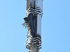 A telecoms mast on Becontree Avenue in Dagenham after a fire (Stefan Rousseau/PA)
