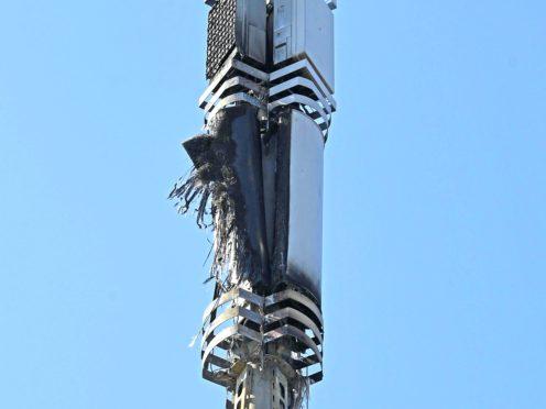 A telecoms mast on Becontree Avenue in Dagenham after a fire (Stefan Rousseau/PA)