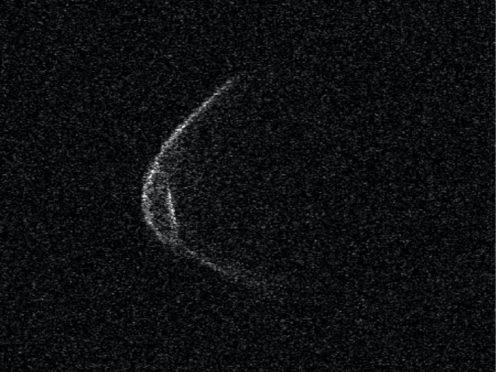 Range-Doppler radar image of asteroid 1998 OR2
