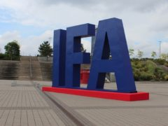 The IFA trade show logo outside the Messe Berlin. (Martyn Landi/PA)