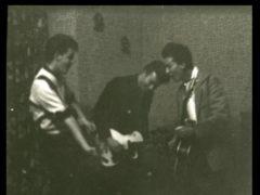 Paul McCartney, left, John Lennon, centre, and George Harrison, right, play their guitars as the Quarrymen (Tracks Ltd/PA)
