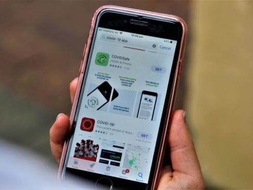 A user looks at the new CovidSafe app released by the Australian government on Sunday evening (Alexander Britton/PA)