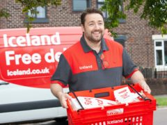 Jason Manford swapped his microphone for a delivery van as he spent the day dropping off groceries for Iceland (Iceland/PA)