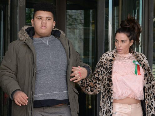 Katie Price with her son Harvey (Nick Ansell/PA)