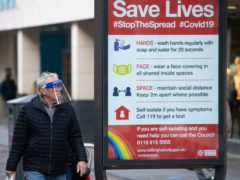 A coronavirus advice sign in Nottingham city centre as the region's leaders discuss the current Covid19-situation with the Government (Jacob King/PA)
