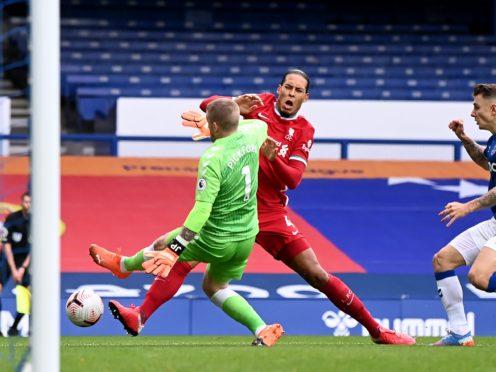 Liverpool midfielder Georginio Wijnaldum has criticised Everton goalkeeper Jordan Pickford's challenge on Virgil Van Dijk (Laurence Griffiths/PA)