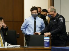 Kyle Rittenhouse appears for an extradition hearing in Lake County court Friday, Oct. 30, 2020, in Waukegan, Ill. Rittenhouse is accused of killing two protesters days after Jacob Blake was shot by police in Kenosha, Wisconsin (Nam Y Huh/Pool/AP)