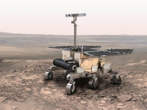 Undated ESA handout photo of an artist's impression of the ExoMars rover on Mars as the European spacecraft nearing the end of its journey to Mars is ready to send a lander to the surface of the Red Planet.