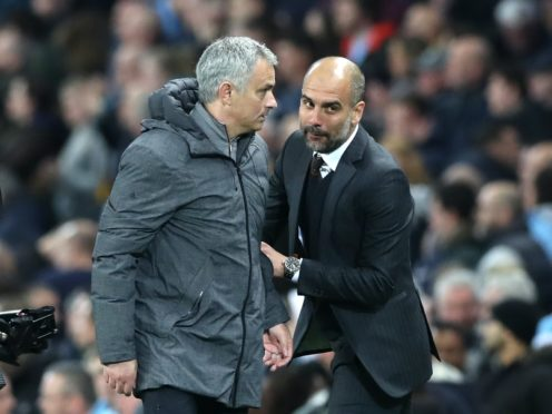 Pep Guardiola (right) has responded to Jose Mourinho's claims about Raheem Sterling's fitness (Martin Rickett/PA)