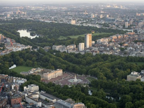 General aerial view of Buckingham Palace, Green Park, Hyde Park and St James's Park, London.