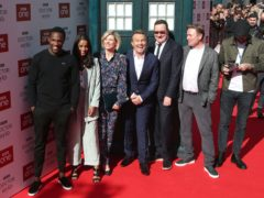Tosin Cole, left, Mandip Gill, Jodie Whittaker, Bradley Walsh, Chris Chibnall and Matt Strevens (Danny Lawson/PA)