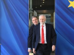 Jeremy Corbyn and shadow Brexit secretary Sir Keir Starmer during a visit to Brussels (Stefan Rousseau/PA)