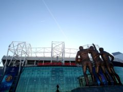 The statues of George Best, Denis Law and Sir Bobby Charlton outside Old Trafford (Nick Potts/PA)