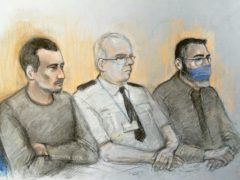 An artist's impression of Christopher Kennedy, left, and Valentin Calota, right, are both on trial at the Old Bailey over an alleged people-smuggling ring linked to the death of 39 migrants in a lorry in Essex (Elizabeth Cook/PA)