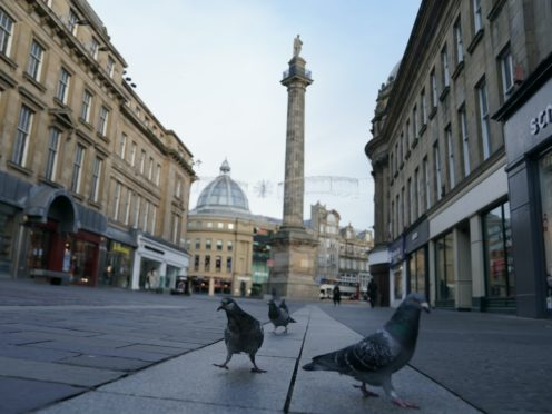 Pigeons occupy empty streets near the Grey's Monument in Newcastle (Owen Humphreys/PA)
