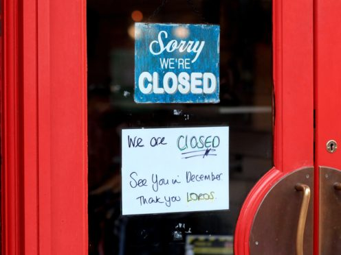 A closed cafe in Leicester during the second national lockdown for England (Mike Egerton/PA)