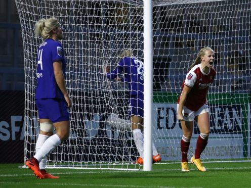 Beth Mead, right, saw her opening goal for Arsenal cancelled out by Chelsea (Tim Goode/PA)
